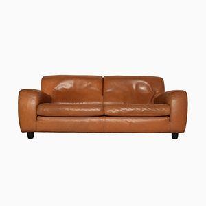Cognacfarbenes Fatboy Leder 2.5-Sitzer Sofa von Molinari, 1980er