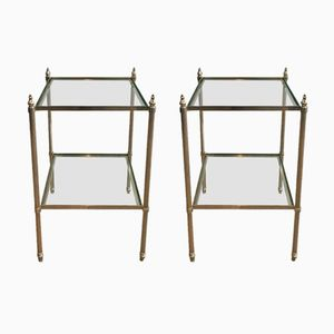 Silver & Brass Nightstands, 1940s, Set of 2
