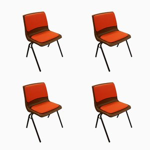 Vintage Orange Stacking Chairs from Steelux, 1980s, Set of 4