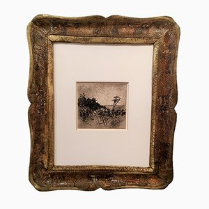 Antique Carved Frame with Etching