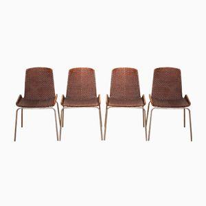 Geflochtene Leder Esszimmerstühle, 1960er, 4er Set