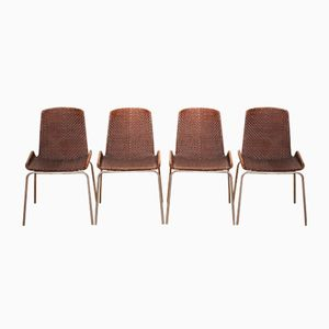 Leather Braided Dining Chairs, 1960s, Set of 4