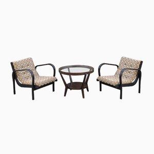 Lounge Chairs & Coffee Table Set by K. Koželka & A. Kropáček for České Umělecké Dílny, 1940s