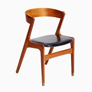 Danish Teak Dining Chair with Leather Seat, 1960s