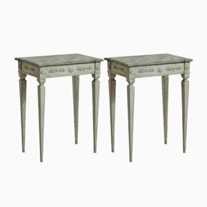 Antique Faux Marble Side Tables, Set of 2