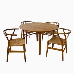 CH-24 Chairs & Dining Table Set by Hans J. Wegner for Carl Hansen & Søn, 1950s
