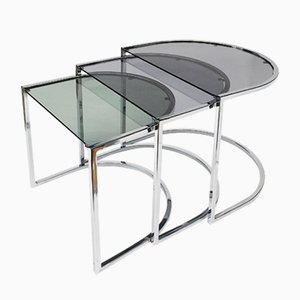 Vintage Chrome Nesting Tables Set, 1970s