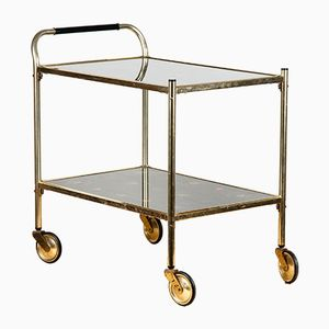 Vintage Serving Bar Trolley in Metal and Glass