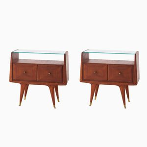 Brass & Mahogany Nightstands, 1950s, Set of 2