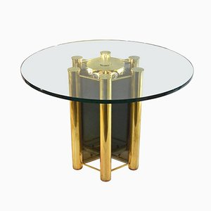 Italian Round Dining Table in Brass with Lighting, 1960s