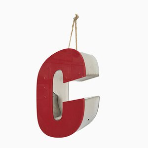Vintage Red Chrome Letter C Sign, 1970s