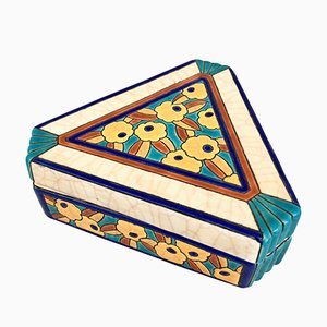 Art Deco French Ceramic Box by Emaux de Longy, 1930s