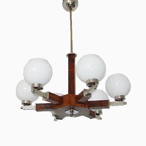 Art Deco Holz Furnier Kronleuchter, 1930er