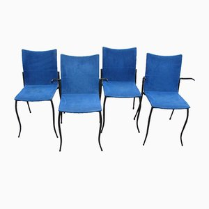 Metal & Blue Fabric Chairs from KFF Design, 1980s, Set of 4
