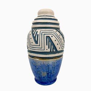 Französische glasierte Art Deco Keramik Vase von Mougin, 1930er