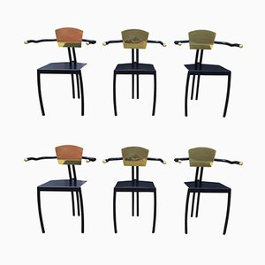Memphis Brass & Black Lacquered Metal Chairs, Set of 6, 1980s