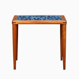 Vintage Blue Tiled Teak Side Table