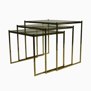 Modernist Brass Nesting Tables Set, 1970s