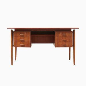 Dänischer Schreibtisch aus Teak, Eiche & Messing, 1950er