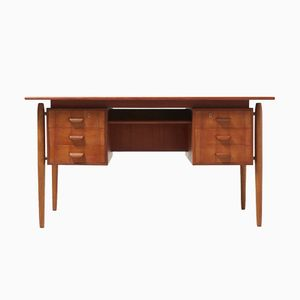 Danish Desk in Teak, Oak, & Brass, 1950s