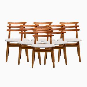 Vintage Modell J48 Eichenholz Esszimmerstühle von Poul Volther für FDB, 6er Set
