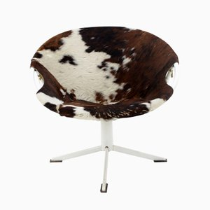 Mid-Century Cowhide Leather Circle Chair from Lusch Erzeugnis, 1960s