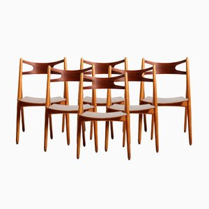 Vintage CH29 Sawbuck Chairs by Hans Wegner for Carl Hansen & Søn, Set of 6