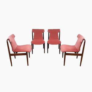 Pink Velvet Dining Chairs by Inger Klingenberg for Fristho, 1950s, Set of 4