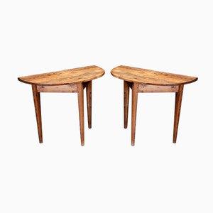 Tables Consoles Demi Lune Antique, 1800s, Set de 2