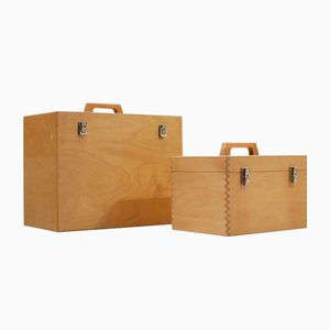 Mid-Century Cubic Beech Wood & Brass Storage Boxes, Set of 2