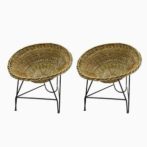 Rattan Chairs with Iron Frames, 1970s, Set of 2