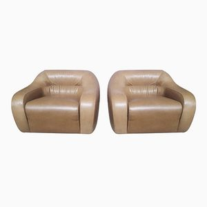 Italian Light Brown Leather Armchairs, 1970s, Set of 2