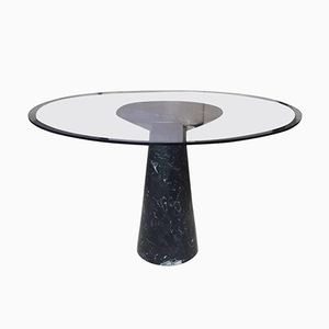 Italian Black Marble & Glass Round Dinner Table, 1970s