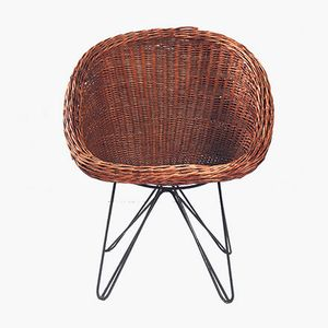 Wicker Chair with Hairpin Legs, 1950s