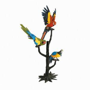 Scultura con pappagalli sul trespolo in bronzo, anni '70