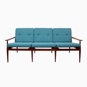 Blaugrünes Sofa aus massivem Teakholz, 1960er
