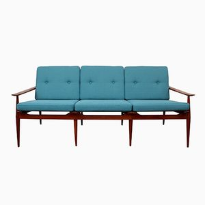 Solid Teak Sofa in Teal, 1960s