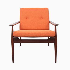 Orange & Solid Teak Armchair, 1960s