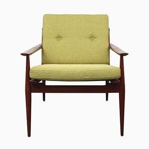 Solid Teak Armchair in Apple Green, 1960s
