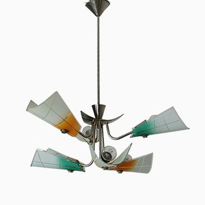 Polish Chrome Chandelier, 1960s