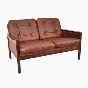 Danish Rosewood & Leather 2-Seater Sofa, 1970s
