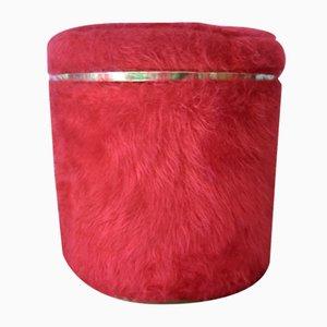Pouf Vintage en Moumoute Rouge par Pelfran pour Rhône-Poulenc, 1960s