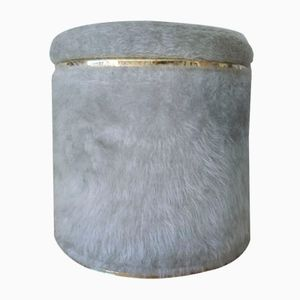 Mid-Century Grey Pouf by Pelfran for Rhône-Poulenc, 1960s