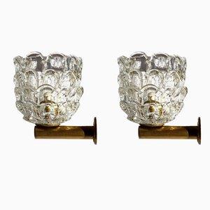 Applique da parete vintage in vetro di Ercole Barovier per Venini, anni '30, set di 2