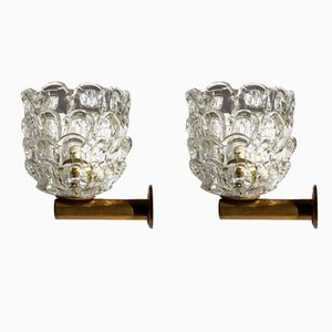 Vintage Glass Wall Sconces by Ercole Barovier for Venini, 1930s, Set of 2