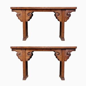 Elm Altar Tables, 1820s, Set of 2