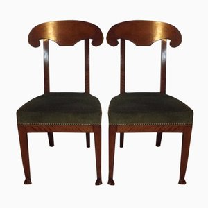 Antique Directoire Style Cherry Chairs, Set of 2