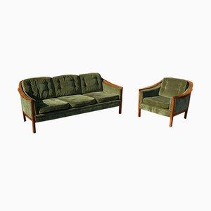 Schwedisches Teak Sofa & Sessel Set, 1960er