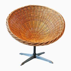 Mid-Century Rattan, Iron & Steel Swivel Pod Chair, 1960s