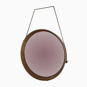 Vintage Round Mirror with Teak Frame
